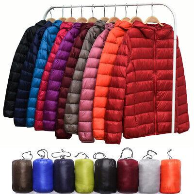 Womens Packable Down Jacket Ultralight Stand Collar Coat Winter Hoodie Puffer
