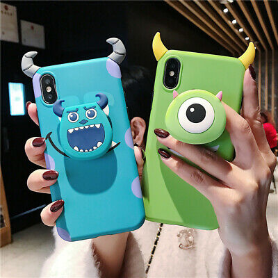 Cute Disney Mike Sulley Devil Stand Holder soft case for iPhone X XS Max 7 8plus](Sulley X Mike)