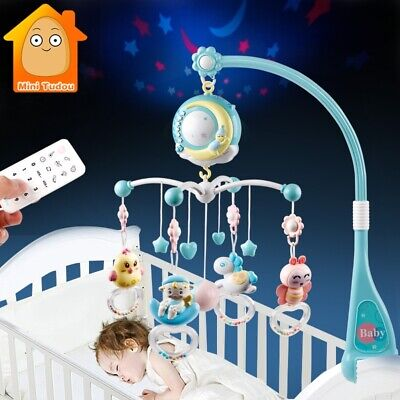 Baby Crib Mobile Bed Toy with Lights and Music Star Projector Songs Musical Box