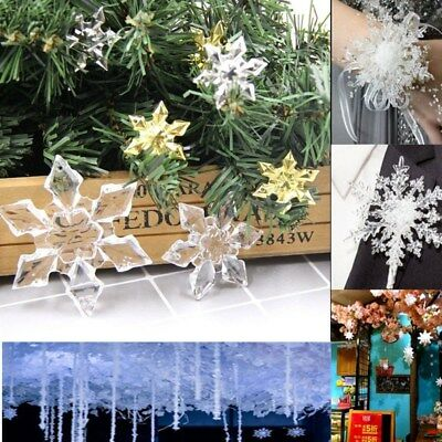 10Pcs Acrylic Snowflake Pendant Craft Christmas Tree Hanging Ornaments DIY Decor - Snowflake Hanging Decorations
