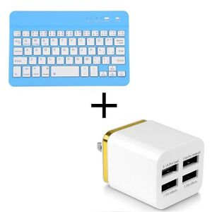 Blue Wireless Bluetooth Keyboard + 4Port Wall Charger Adapter
