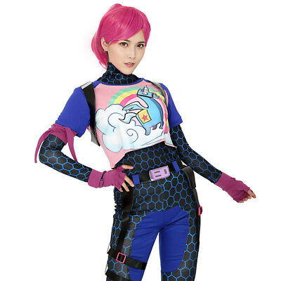 Brite Bomber Rainbow Horse Zentai Cosplay Halloween Costume Women Adult Shirt - Woman Halloween