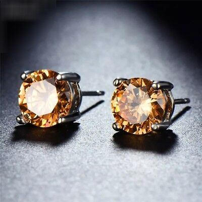 925 Sterling Silver Champagne Morganite Round Solitaire Stud Earrings