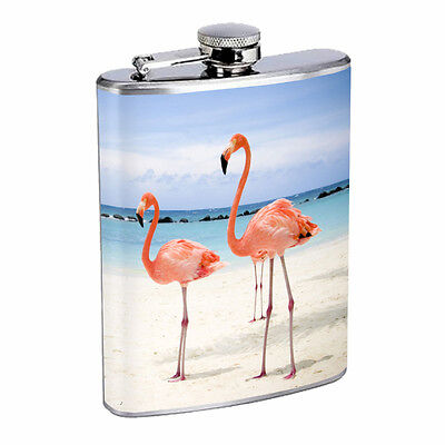 Flamingo Flask D2 8oz Stainless Steel Pink Plummage Tropical Exotic Bird Aviary