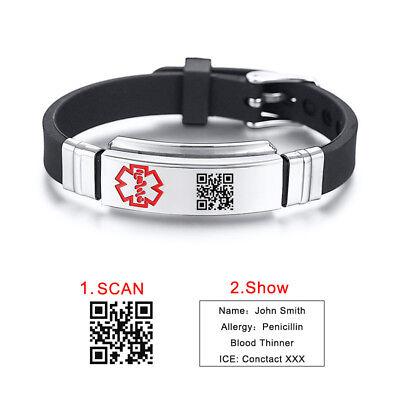 Black Custome QR CODE Medical Alert ID Women Men KID Bracelet Silicone -