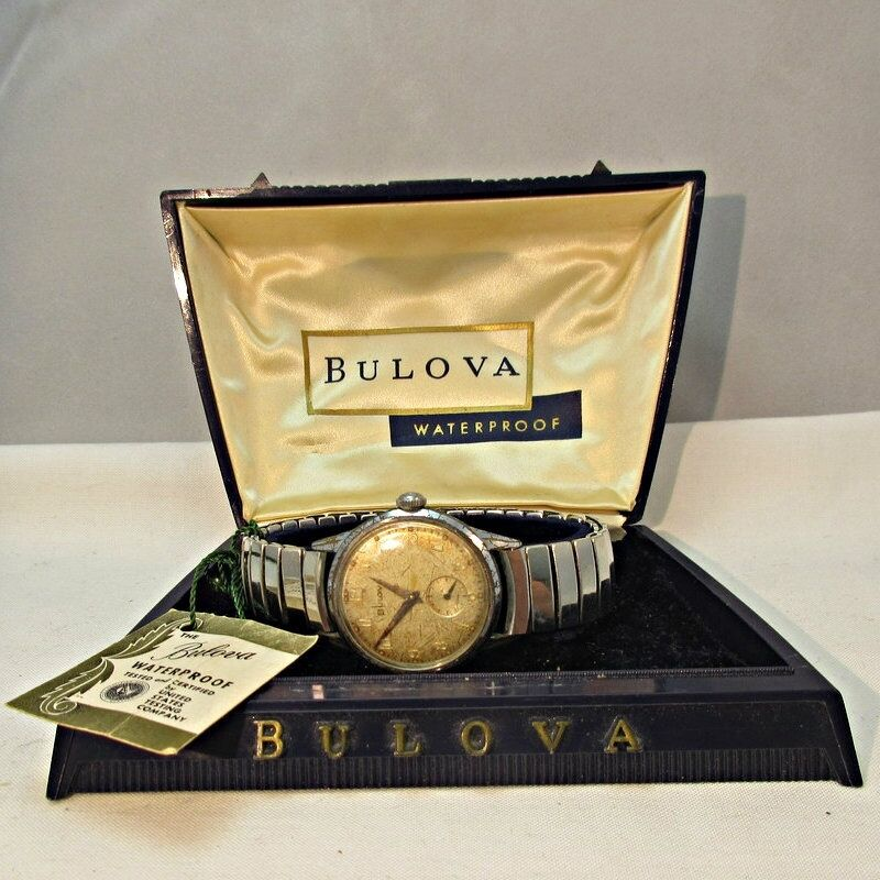 Vintage Bulova Watch Co. Waterproof Watch Stainless Steel Case and Band with Ori