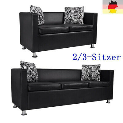 Sofa 2/3-Sitzer Luxus Loungesofa Kunstleder Ledersofa Couch Sitzmöbel Schwarz