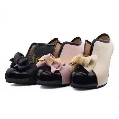 Süße High Heel (Schleife Pumps Damen Neu Schuhe High Heel Rund zehe Süß Stiletto Kunstleder )