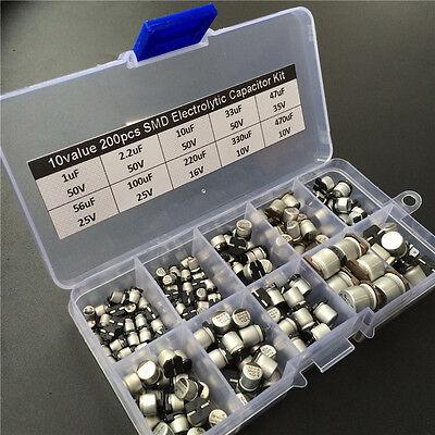 10values 200pcs Smd Electrolytic Capacitor Assorted Kit 10v50v 1uf470uf Box