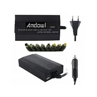 CARGADOR ADAPTADOR UNIVERSAL 120W para PORTATIL CONSOLA USB 8 CLAVIJAS RED COCHE