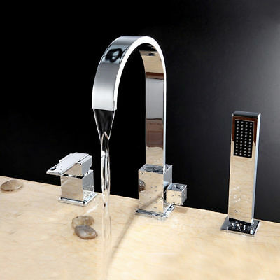 Modern Waterfall Roman Tub Faucet Deck Mount Bath Tap with Hand Shower in -