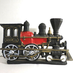 Cast Iron Steam Locomotive Black Gold Red Train Railroad engine