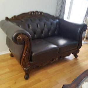 Extremely Luxury 3 Pieces 100% Genuine Leather Sofa Set