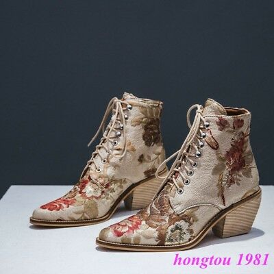 Cuban Womens Western Embroidery Floral Lace Up Satin Leather Ankle Boots Shoes