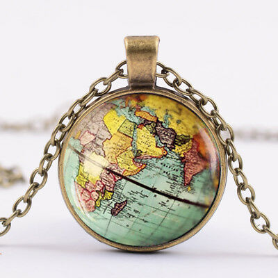 DIY Globe Dome Necklace Earth World Map Pendant Glass Handmade Necklace Jewelry
