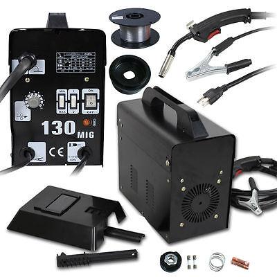 Mig 130 Welder Machine Flux Core Wire Automatic Feed Welding W Mask 110220v
