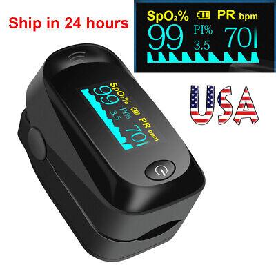Finger Tip Pulse Oximeter Blood Oxygen Oxy Spo2 Monitor Pr Pi Heart Rate Fda Ce