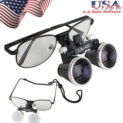 Black Metal Frame Dental Surgical Binocular Loupes 3.5x 420mm Optical Glass Usa