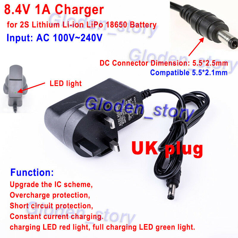 UK 3 Pin plug 8.4V 1A charger adapter for Lithium Ion Battery Li-ion LiPo 2S