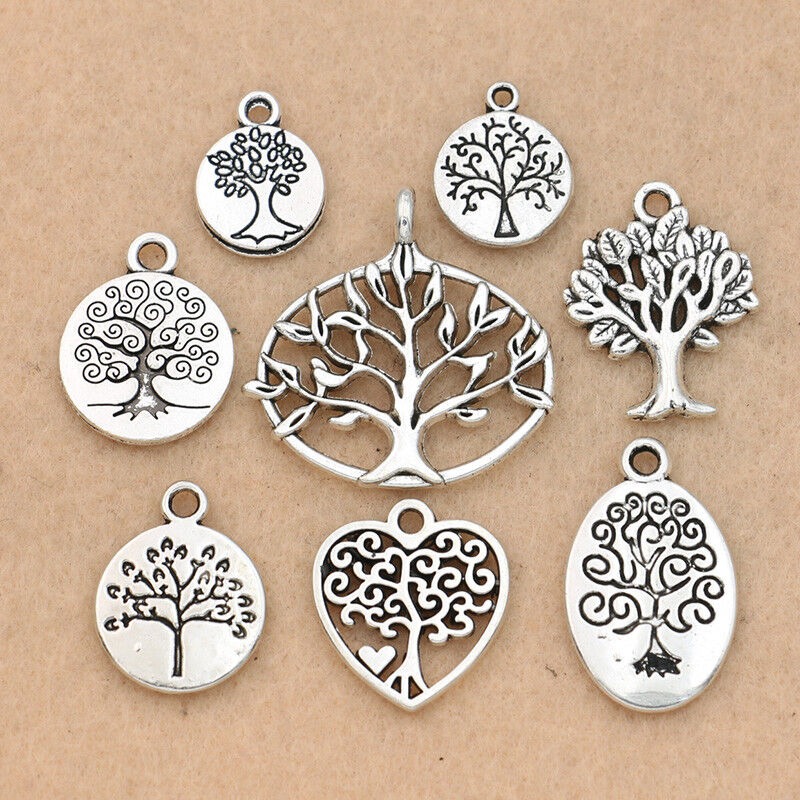16PCS Antique Silver Tree of Life Charm for Jewelry Making Bracelet Accessories