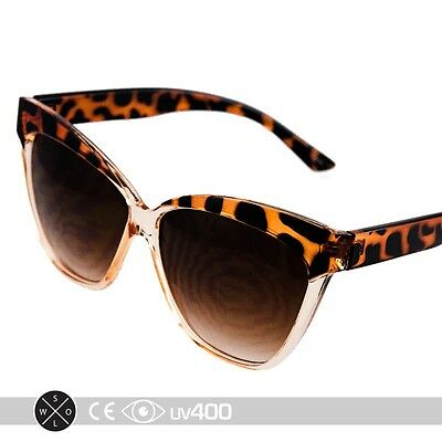 New High Pointed Tip Oversize Tortoise Clear Cat Eye Sunglasses Free Case S251