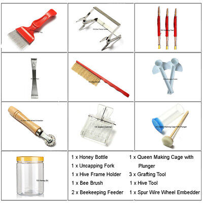 9Types 13pcs Beekeeping Tools Stainless Steel Hive Tool Bee Brush Uncapping Fork
