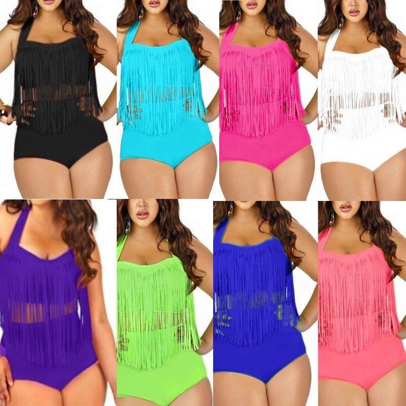 Women Plus Size Gradient Tankini Bikini Swimwear Swimsuit Bathing Suit DZ