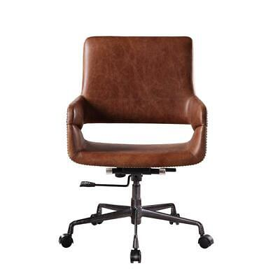 Acme Kamau Executive Office Chair With Lift In Vintage Cocoa Top Grain Leather