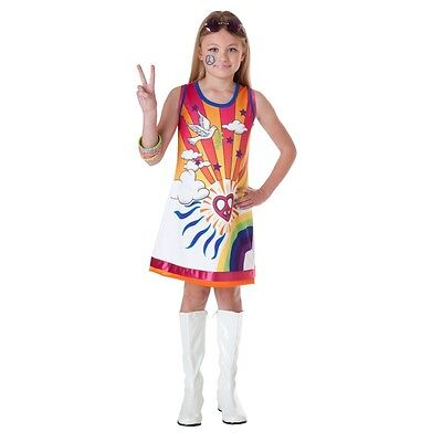 60's 70's Theme HIPPIE Costume Girls Flower Child Dress Child Large 12 14 Groovy