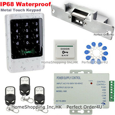 IP68 Waterproof ID Card + Password Door Access Control+Strike Lock+3Remotes+Bell