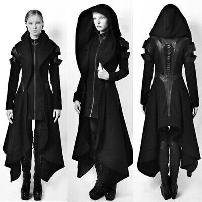 Frauen Schwarz Mit Kapuze Irregulär Windjacke Mantel Kostüm (Schwarzes Mantel-kostüm)