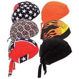 New 6pc Assorted Cotton Motorcycle Skull Caps Doo Du Rag Biker Bandana Head Wrap
