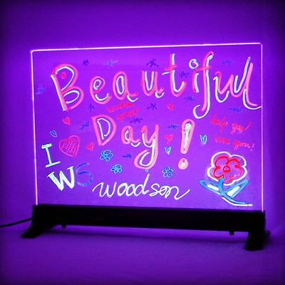 Flashing Illuminated Glass Erasable Fluorescent LED Message Board 16x12 w/ Stand