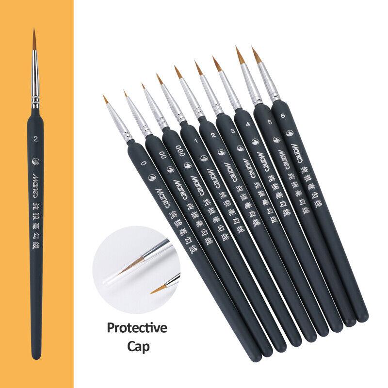 9Pcs Fine Paintbrushes, Handmade Detail Paint Brush Set for Acrylic, Watercolor