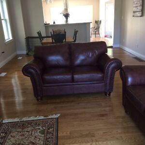 Brown leather set couch set