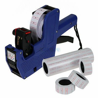 Blue Mx-5500 8 Digits Price Tag Gun 5000 White W Red Lines Labels 1 Ink Us