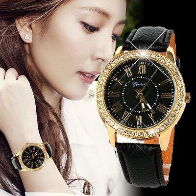 Kyпить Luxury Bling Gold Crystal Women Stainless Steel Leather Strap Quartz Wrist Watch на еВаy.соm
