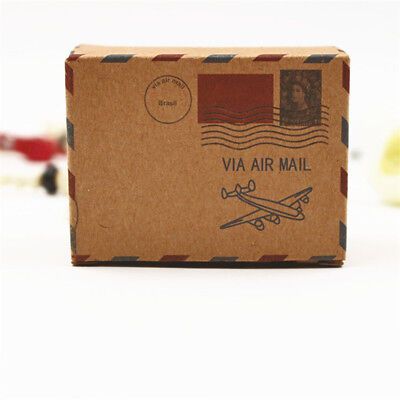 1/10 pcs Brown paper ribbon gift box candy box wedding party Birthday decoration (Brown Candy)