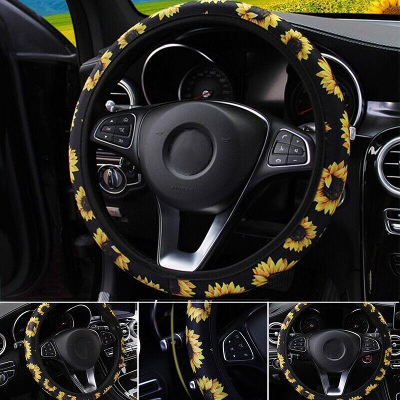 "1pc Car Steering Wheel Cover Purple 15/"" 37-38CM Flower For Girls Ladies Fashion"