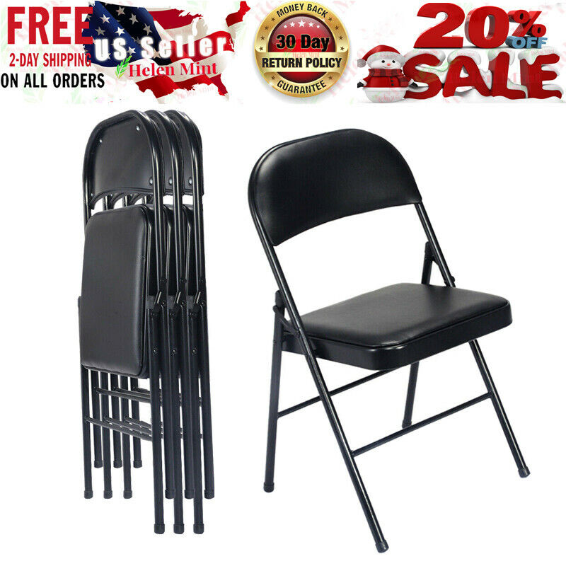 Folding Chairs Fabric Upholstered Padded Seat Metal Frame Ho