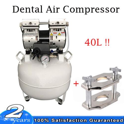 US SHIP 40L Dental Medical Noiseless Oil Free Oilless Air Compressor 550W + Gift