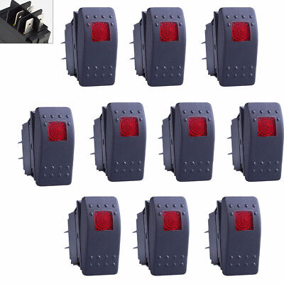 10pcs Waterproof Marine Boat Car Rocker Switch 12v On-off 4 Pin Red Led Light