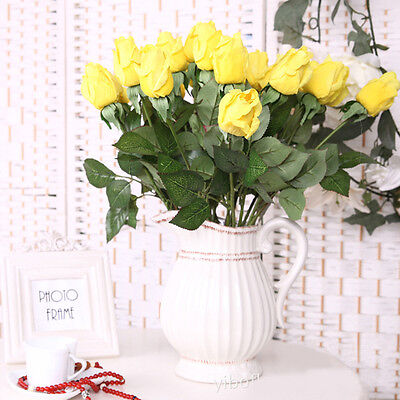 20/10Heads Real Touch Latex Rose Flower Bridal Wedding Bouquet Home Office Decor