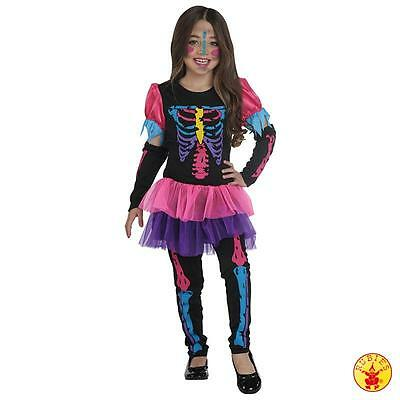 RUB 12110 Kinder Kostüm Skelett Neon Bones Fasching Karneval Halloween 116-164 ()