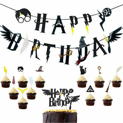 17Pcs Harry Potter Happy Birthday Banner Bunting Cake Cupcake Toppers Party Set
