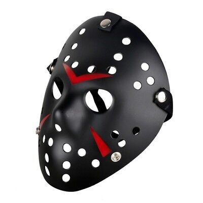 Ice Hockey Maske Halloween (Deluxe Hartplastik Halloween Horror Maske Kostüm Ice-Hockey Design Schwarz)