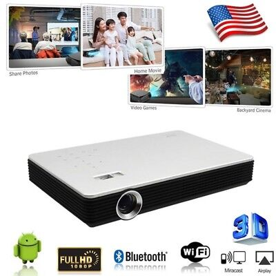 DLP ANDROID 7100 LUMENS 3D 4K HOME THEATER PROJECTORS 1080P CINEMA HDMI US STOCK