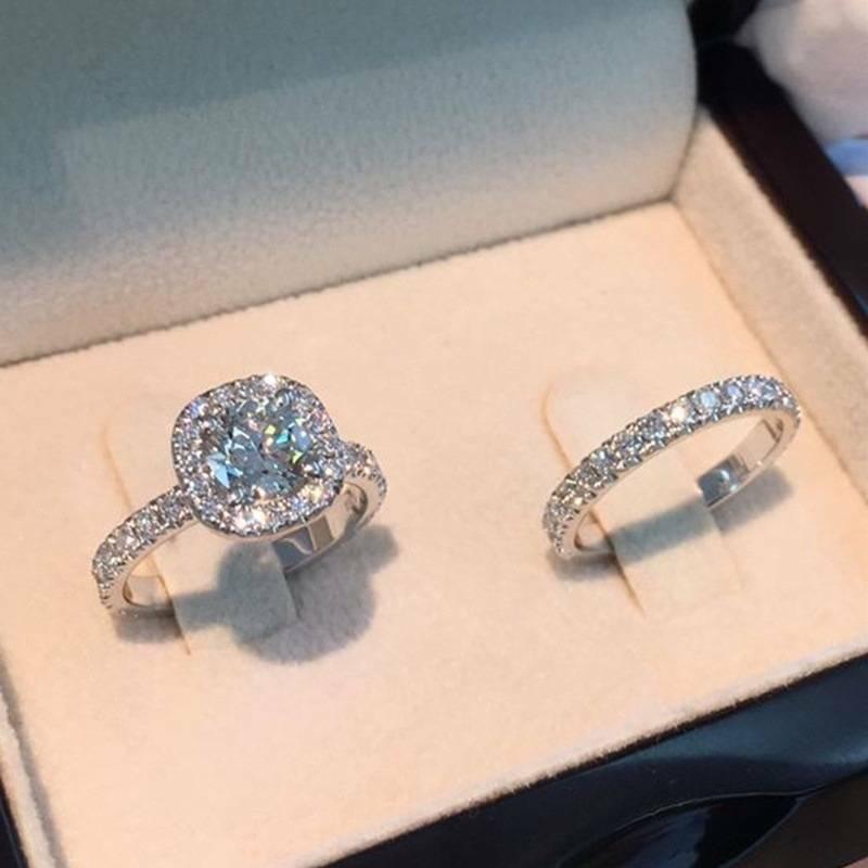 Fashion White Sapphire 925 Silver Rings Set Women Wedding En