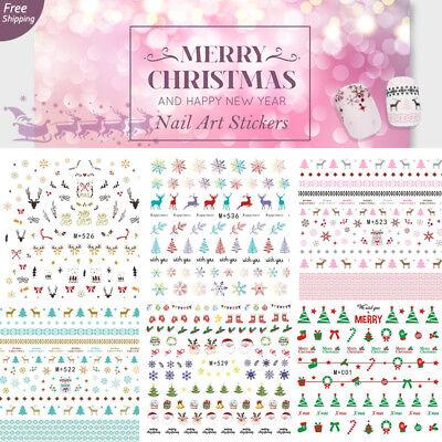 (Dear Christmas Nail Art Stickers Water Transfer Reindeer Snowman X'mas Tree)