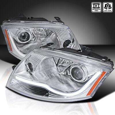 For 1999-2006 Audi TT Chrome Clear Projector Headlights w/ LED Strip Bar